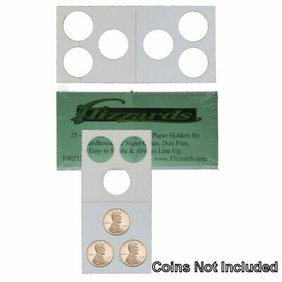 3 Hole - Penny/Cent Guardhouse 2x2 Mylar/Cardboard Coin Flips, 25 pack