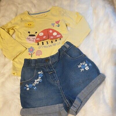 girls 3-4 years outfit ladybird top & floral denim shorts outfit bundle next day