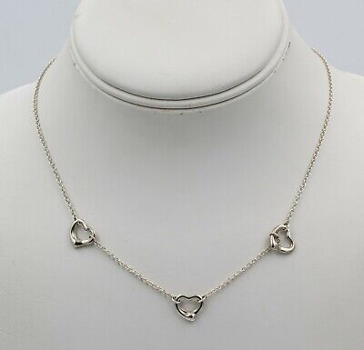 Tiffany & Co Elsa Peretti Spain 3 Heart Sterling Silver Necklace 925 Nr #7102-1