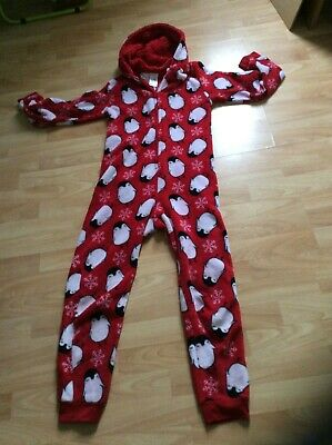 Girl's age 12-13yrs Peacocks Stores red and white oonesie pyjama