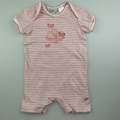 Girls size 6 months, Bebe by Minihaha, striped romper, embroidered, FUC