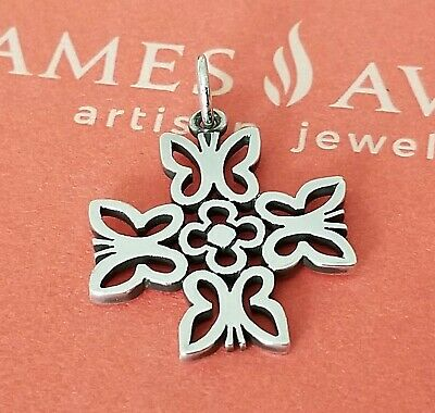 Retired James Avery Sterling Silver Four Butterfly Cross Charm