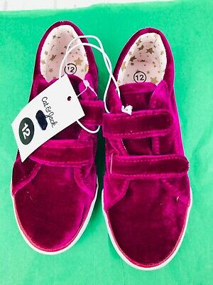 Girls Cat & Jack Hot Pink Velour Sneakers Tennis Shoes Size 12 New