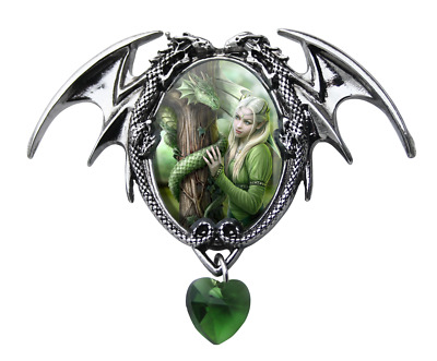 ANNE STOKES CAMEO PENDANT KINDRED SPIRITS features Dragon & Maiden - NEW IN BOX