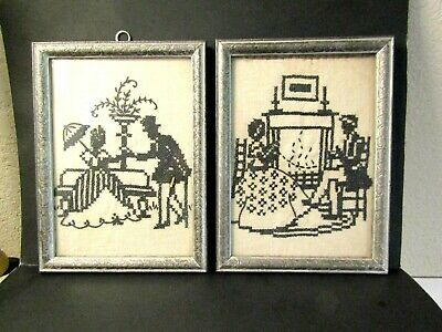 1930's RARE PAIR CROSS STITCH FRAMED SILHOUETTES NICE ONES