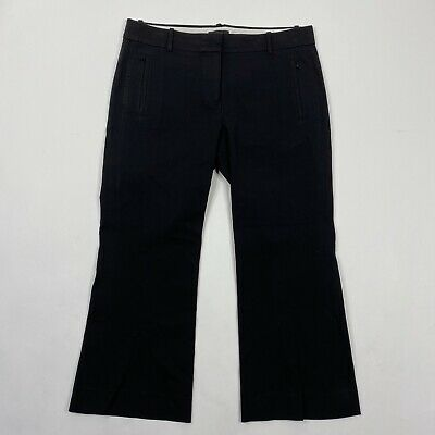 J Crew Dress Pants Size 10 Womens Black Stretch Cotton Teddie Wide Leg Cropped