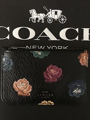 NWT Coach Zip Card Case With Rainbow Rose Print Mini schwarz mit Blumen 31925