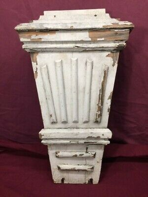 Antique Vintage Wood Corbel  Architectural Salvage Wall Decor Pediment White