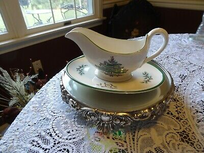 VINTAGE SPODE CHRISTMAS TREE GRAVY SAUCE BOAT with PLATE