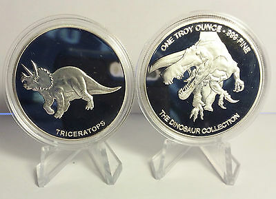 """2014 1 OZ TRICERATOPS COIN """"The Dinosaur Collection"""" Finished in 999 Silver"""