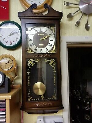 (1207) Wooden Glass Fronted Long Case Wall Clock  With Quartz Battery Movement A