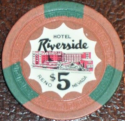 Old $5 RIVERSIDE Hotel Casino Poker Chip Vintage Antique Small Key Reno NV 1954