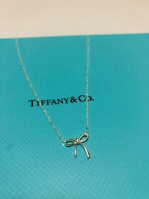 "CHRISTMAS Gift Tiffany & Co. Necklace Mini Bow 17"" Sterling Silver NEW"