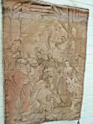 """Antique Peter Paul Rubens French Tapestry """"Adoration of the Magi''1890's Signed"""