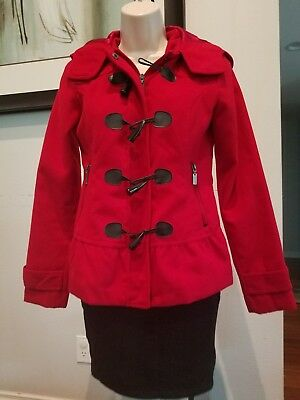 Hydraulic Junior Girls Pea Coat Red Size Small Toggle Button Zip Hooded Jacket
