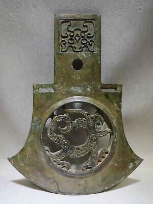 Chinese bronze Axe weapon hollow Dragon pattern Axe with family token