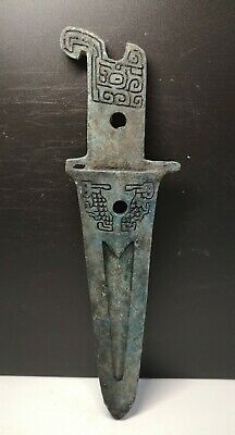 Chinese bronze Ge Halberd Weapon sword with family token
