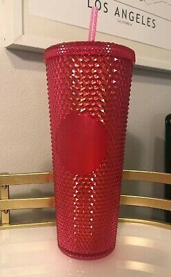 Starbucks Neon Hot Pink Studded Cold Cup Tumbler Holiday 2019 New