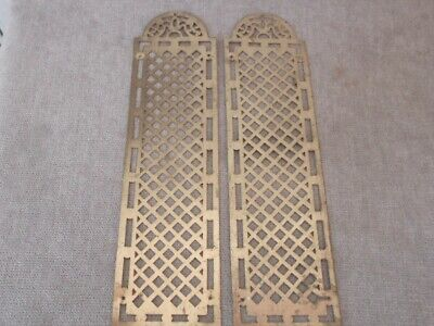 pair Vintage FRENCH BRASS Finger Door plates PUSH PLATES