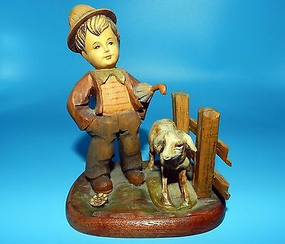 Vtg. Anri Italy Hand Carved Wood Young Boy & His Farm Animal Figurine Not Signed