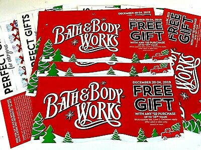 20 Bath and Body Works COUPONS No Charge Up to $16.50 item w/any $10 BUY