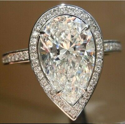 Near White Pear Cut Moissanite 4.50 Ct Engagement Party Ring 925 Sterling Silver