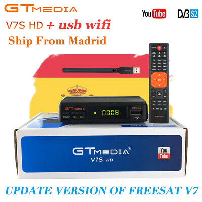 FTA GTMEDIA DVB-S2 V7S+Wifi Satellite TV Receiver Digital Full HD 1080p Bisskey