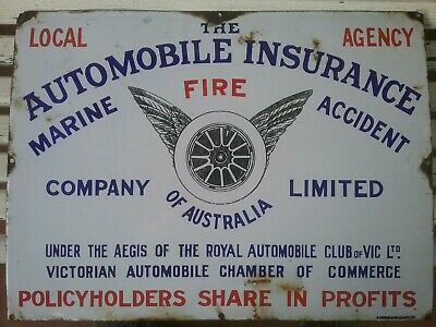 Enamel Sign Automobile insurance Genuine Old
