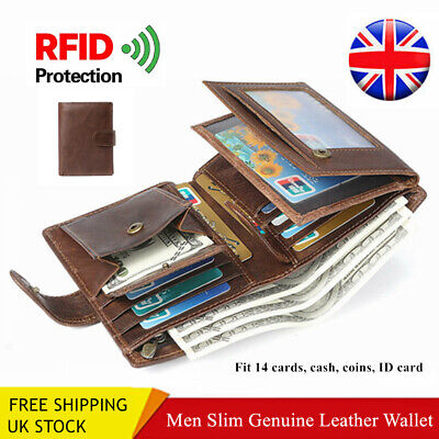 RFID Wallet Mens Genuine Leather Trifold Purse ID Credit Card Holder Coin Pocket
