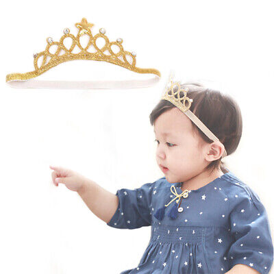 Kids Gold Silver Princess Headband Baby Hair Band Crown Tiara Toddler Girls UK