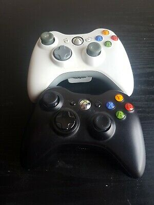 Official Xbox 360 Controller Black Microsoft Battery Powered Rechargeable Tested