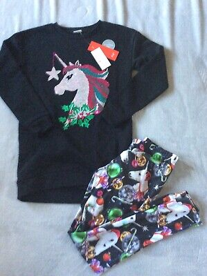 Girls F+F Black Unicorn Print 2 Piece Outfit Leggings And Jumper Age 11-12 Years