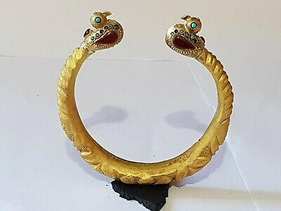 Extremely Rare Ancient Hellenistic Gold Plated Bracelet/Bird Figures.22,Gr.168M