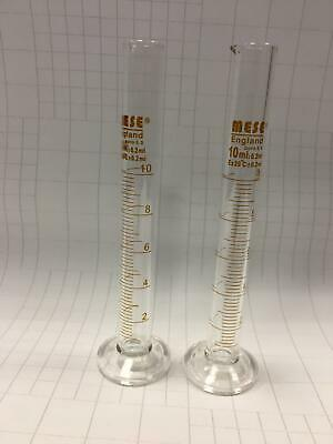 2x Borosilicate Glass Measuring Cylinders, size 10 ml (pack of 2 cylinders)