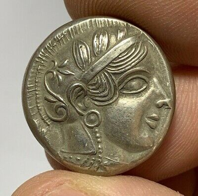 ANCIENT GREEK SILVER TETRADRACHM COIN ATHENA FOURRE 16.8gr 27.1mm 454-404 B.C