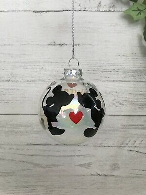 Disney Christmas Minnie And Mickey Mouse Bauble Hanging Decoration Personalised