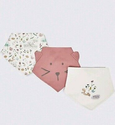 BNWT Girls M&S Girls 3 Pack Dribble Bibs