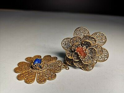 Chinese silver gilt hairpin Qing flower pattern hairpin inlaid Gem head decor.