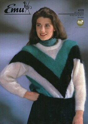 "Emu 4125 Lady Sweater Mohair 30-40"" Vintage Knitting Pattern"