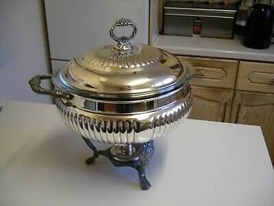Large 1950/60's Sheridan Silver Plated Soup Tureen with Spirit Burner (2574)