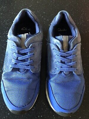 Clarks Boys Blue Leather Pull On Trainers In Size Uk 2 G