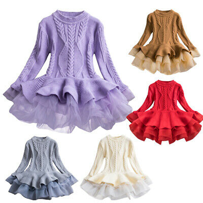 Kids Baby Girls Knitted Sweater Winter Pullovers Crochet Tutu Dress Tops Skirts