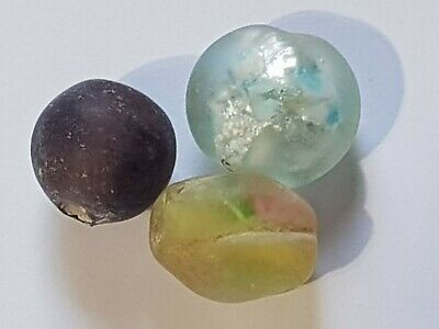 Superb Lot Of 3 Ancient Roman Ancient Glass Beads