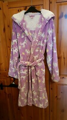 Debenhams Girls Fluffy Fleece Unicorn Dressing Gown. Age 12-13.Hardly used