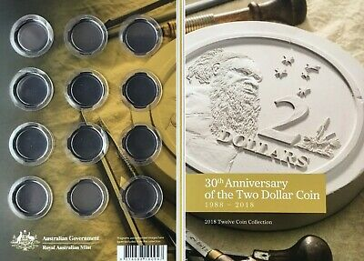 2018 30th Anniversary $2 coin - Folder (Empty) with all original capsules