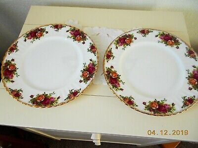 """Royal Albert Old Country Roses Two  10.5"""" Dinner Plates."""