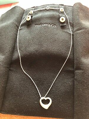 Tiffany & Co Elsa Peretti Open Heart Pendant Necklace 925 Sterling Silver #S1168