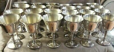 24 Vintage Industria Argentina silver plated wine and water goblets glasses cups
