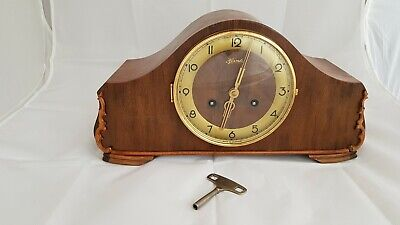 A Vintage Wood Mantel Clock For Spares Or Repair. Fair Condition See Pics