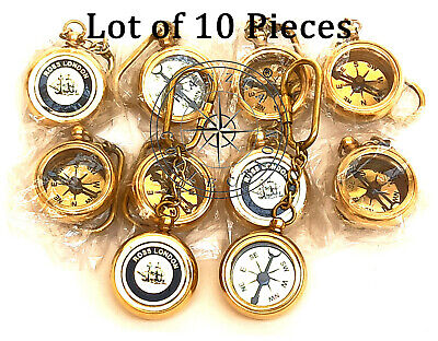 Lot of 10 Pieces Polished Brass Compass Keychain Nautical Rose London Keyring